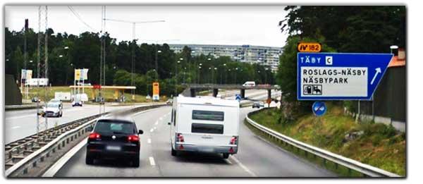 Avfart E18 Söderifrån